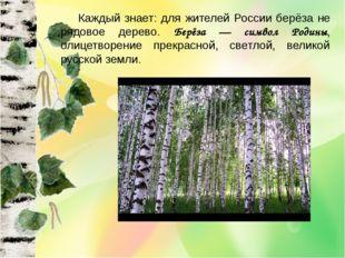 Каждый знает: для жителей России берёза не рядовое дерево. Берёза — символ