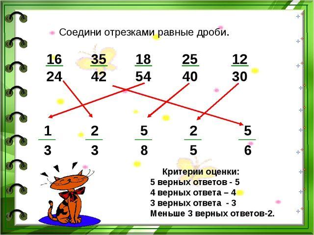 Соедини отрезками равные дроби. 16 24 35 42 18 54 25 40 12 30 Критерии оценки...