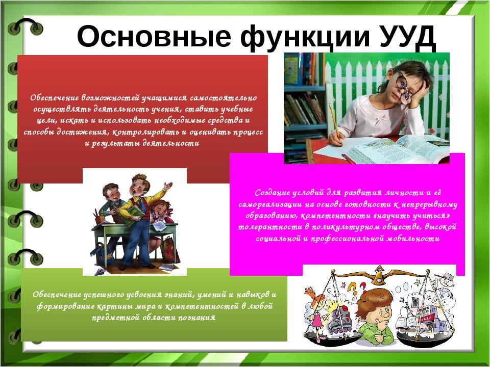 Основные функции УУД Обеспечение возможностей учащимися самостоятельно осущес...
