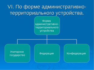VI. По форме административно- территориального устройства.