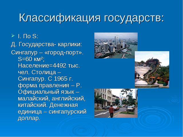 Классификация государств: I. По S: Д. Государства- карлики: Сингапур – «город...