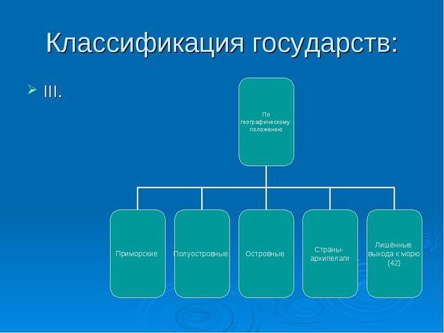 Классификация государств: III.