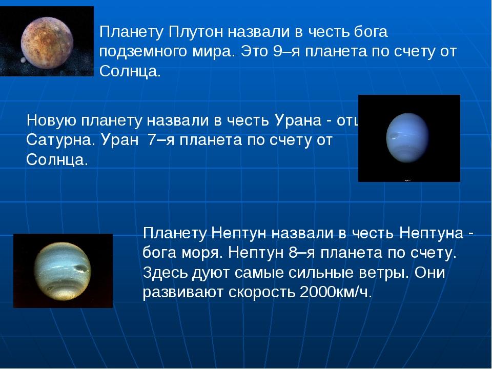 Планету Плутон назвали в честь бога подземного мира. Это 9–я планета по счет...