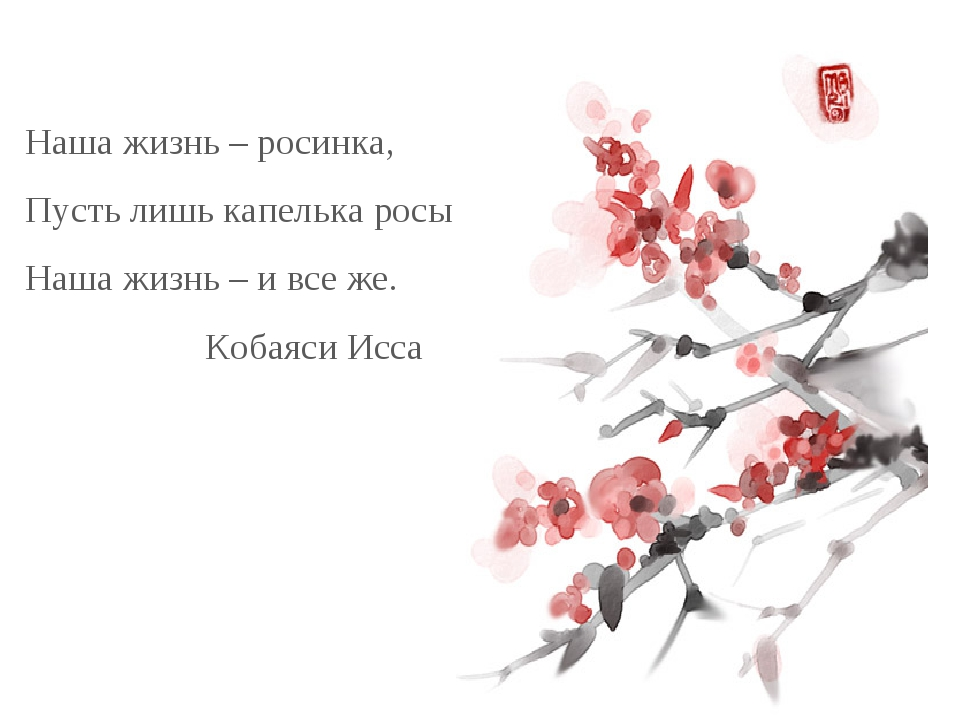 Наша жизнь – росинка, Пусть лишь капелька росы Наша жизнь – и все же.  Кобая...