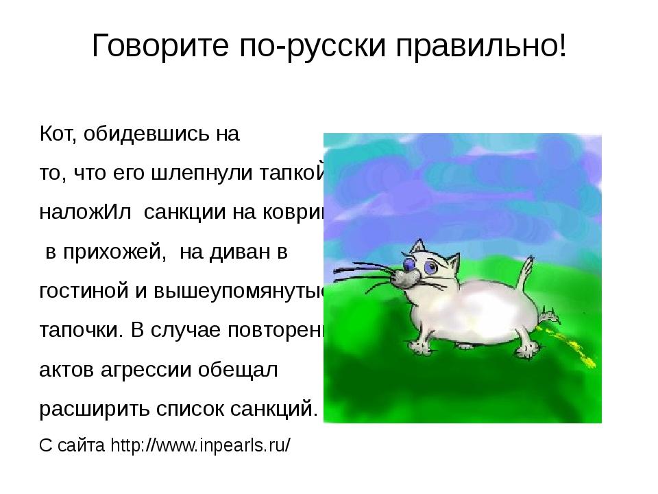 Говорите по-русски правильно! Кот, обидевшись на то, что его шлепнули тапкоЙ,...