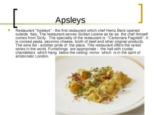 "Apsleys Restaurant ""Apsleys"" - the first restaurant which chef Heinz Beck op"
