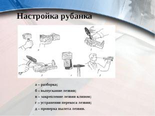 Настройка рубанка а – разборка; б – выпускание лезвия; в – закрепление лезвия