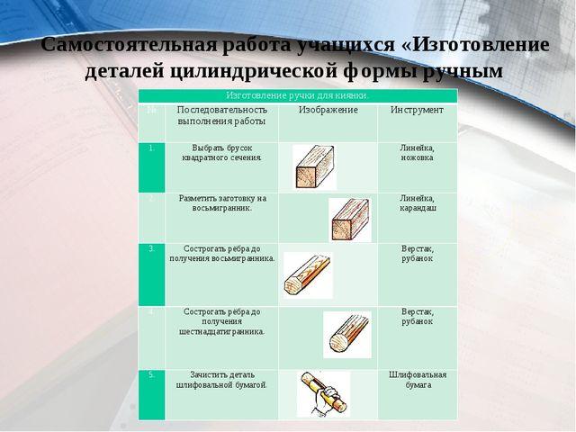 Самостоятельная работа учащихся «Изготовление деталей цилиндрической формы ру...