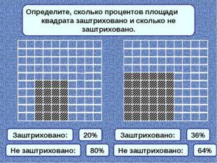 Определите, сколько процентов площади квадрата заштриховано и сколько не зашт