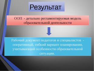 Результат ООП - детально регламентируемая модель образовательной деятельности