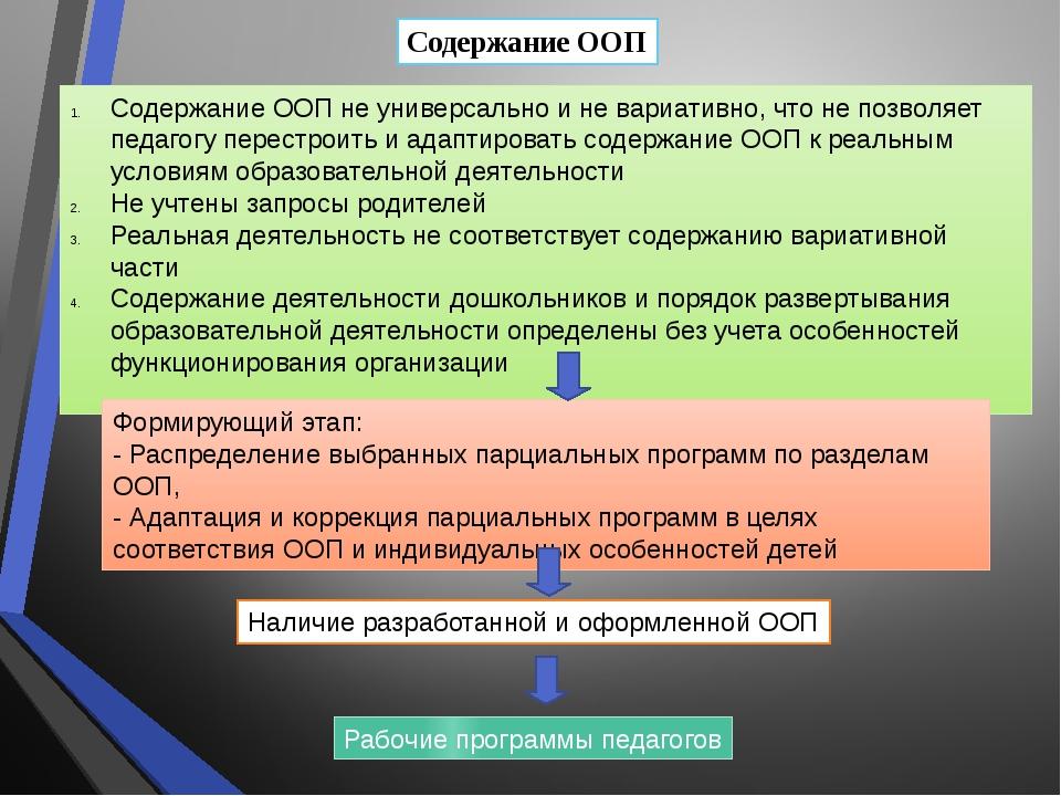 Содержание ООП Содержание ООП не универсально и не вариативно, что не позволя...