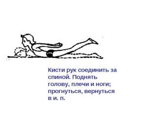 Кисти рук соединить за спиной. Поднять голову, плечи и ноги; прогнуться, верн