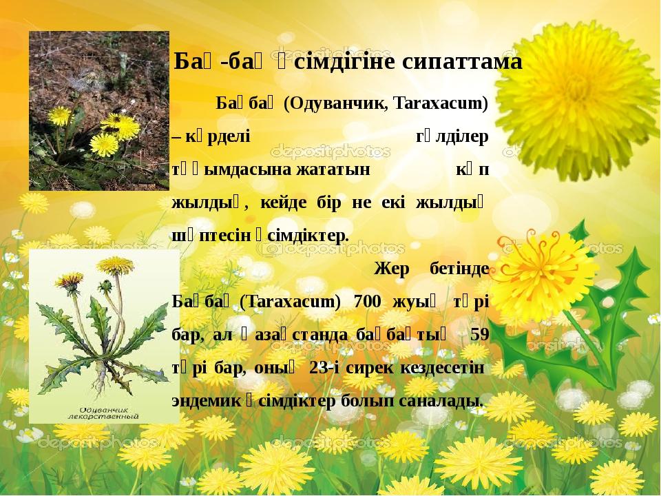 Бақбақ(Одуванчик, Taraxacum) –күрделі гүлділер тұқымдасынажататын көп жыл...