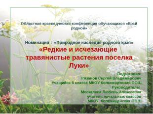 Подготовил: Рязанов Сергей Владимирович Учащийся 8 класса МКОУ Копанищенская