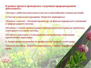 В рамках проекта проводилась следующая природоохранная деятельность: Беседы с