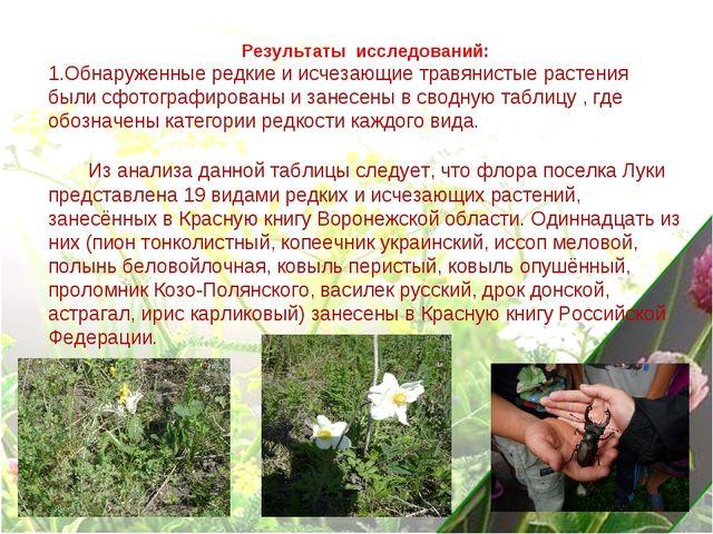 Результаты исследований: 1.Обнаруженные редкие и исчезающие травянистые расте...