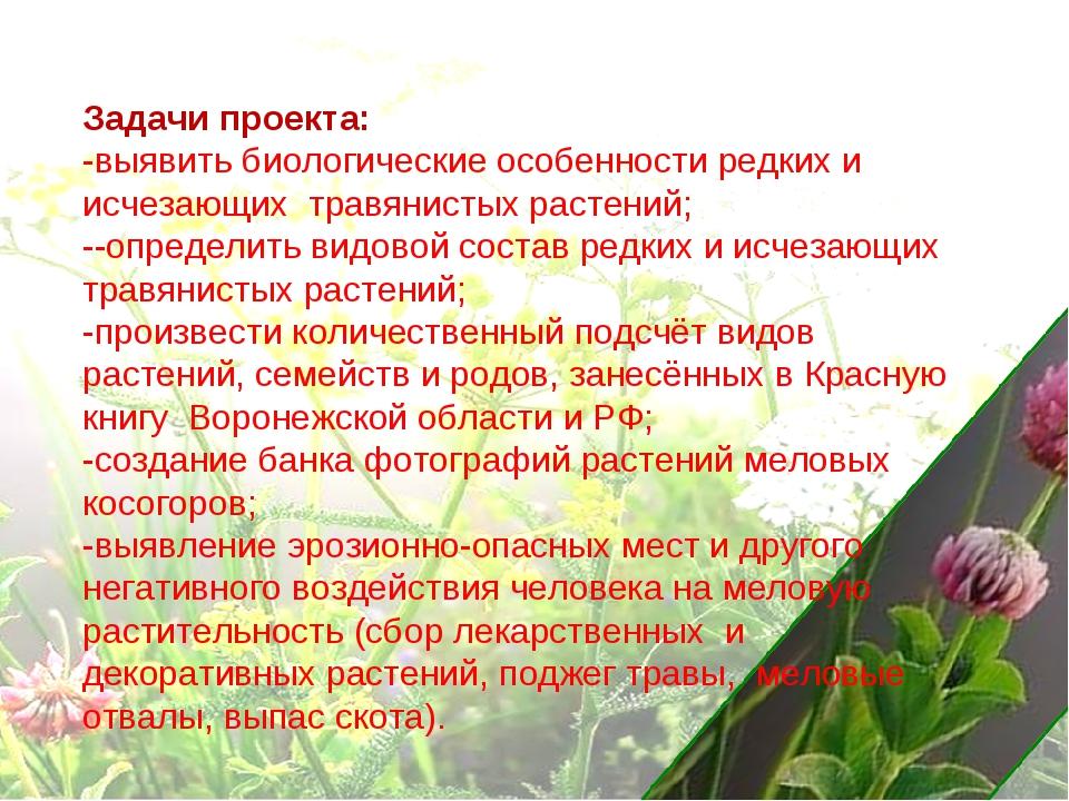 Задачи проекта: -выявить биологические особенности редких и исчезающих травян...