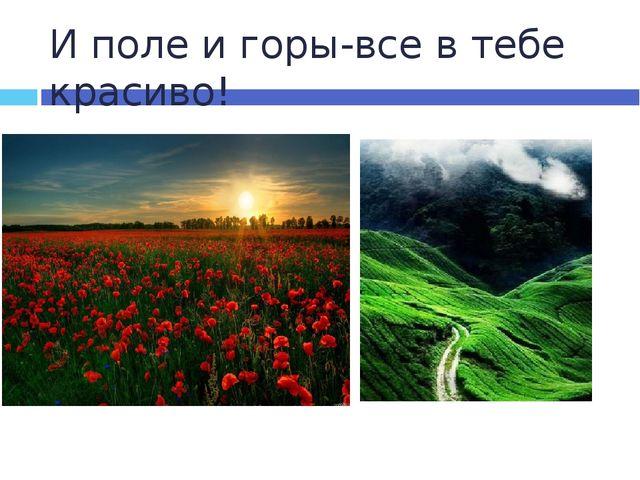 И поле и горы-все в тебе красиво!