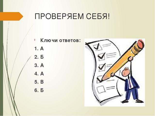 ПРОВЕРЯЕМ СЕБЯ! Ключи ответов: 1. А 2. Б 3. А 4. А 5. В 6. Б