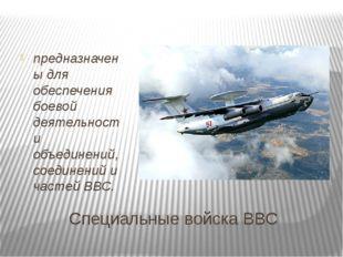 Специальные войска ВВС предназначены для обеспечения боевой деятельности объ