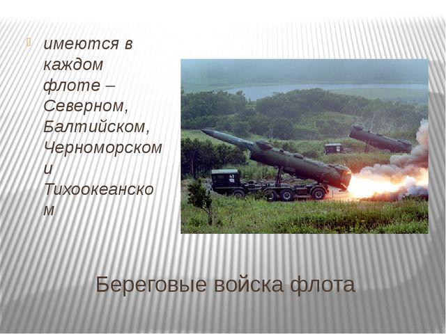Береговые войска флота имеются в каждом флоте – Северном, Балтийском, Черном...