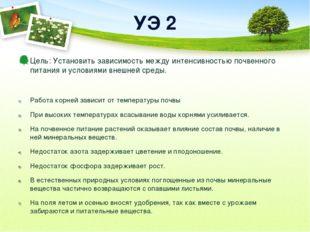 УЭ 2 Цель: Установить зависимость между интенсивностью почвенного питания и у