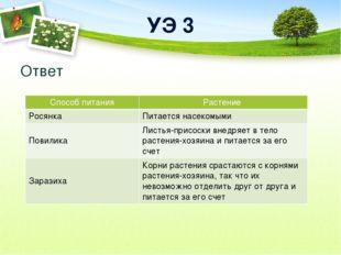 УЭ 3 Ответ Способ питания Растение Росянка Питается насекомыми Повилика Листь
