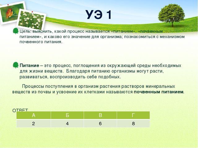 УЭ 1 Цель: выяснить, какой процесс называется «питанием», «почвенным питанием...