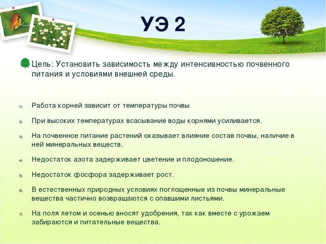 УЭ 2 Цель: Установить зависимость между интенсивностью почвенного питания и у...