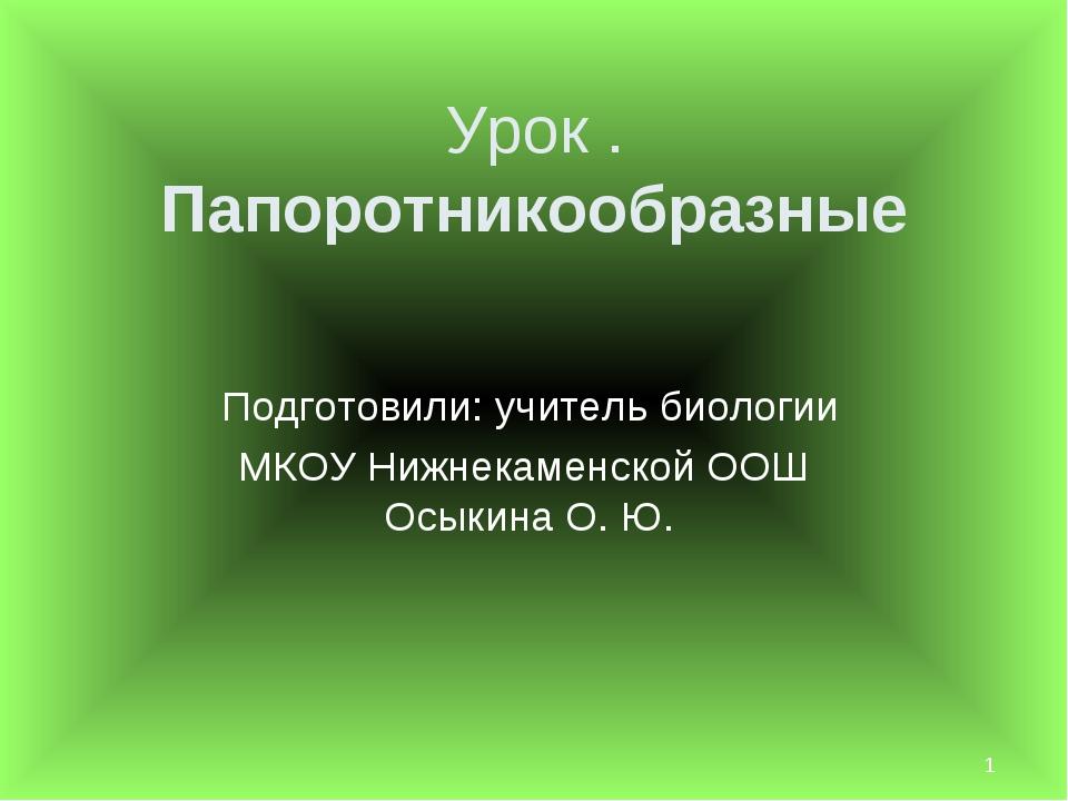 * Урок . Папоротникообразные Подготовили: учитель биологии МКОУ Нижнекаменско...