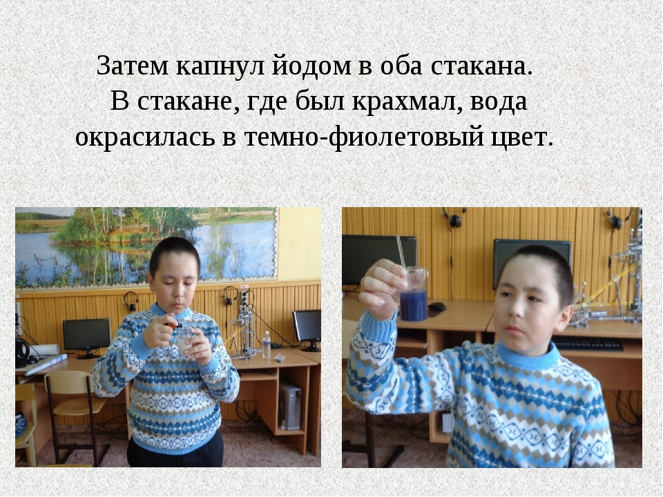 Затем капнул йодом в оба стакана. В стакане, где был крахмал, вода окрасилась...