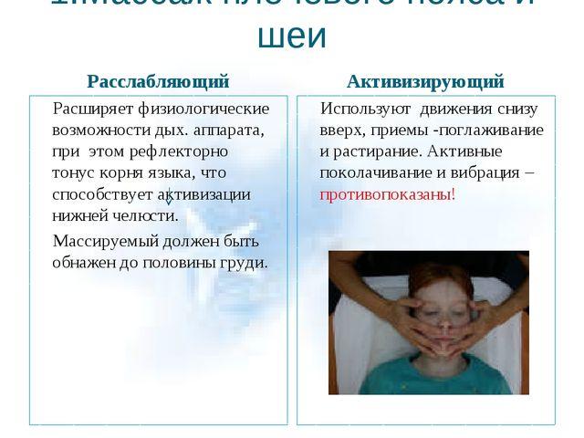 1.Массаж плечевого пояса и шеи Расслабляющий Активизирующий Расширяет физиоло...
