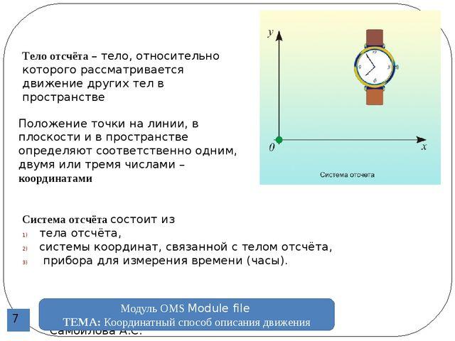 Преподаватель физики УСВУ Самойлова А.С. Модуль ОМS Module file ТЕМА: Коорди...