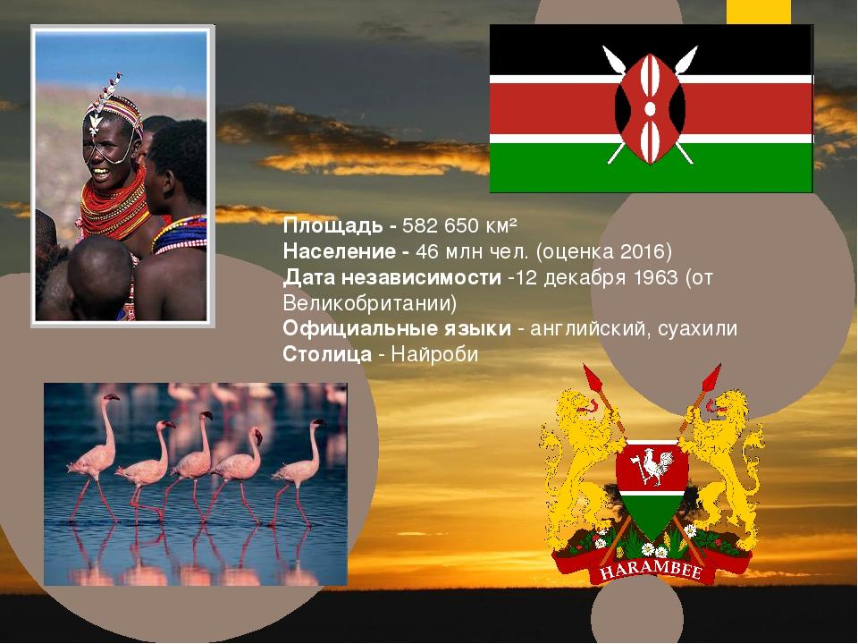 Площадь - 582 650 км² Население - 46 млн чел. (оценка 2016) Дата независимост...
