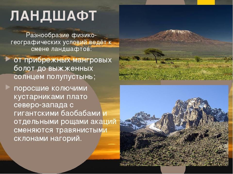 ЛАНДШАФТ Разнообразие физико-географических условий ведёт к смене ландшафтов:...