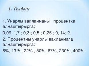 1. Унарлы вакланманы процентка алмаштырырга: 0,09; 1,7 ; 0,3 ; 0,5 ; 0,25 ; 0