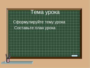 Тема урока Сформулируйте тему урока Составьте план урока