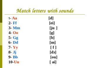 Match letters with sounds 1- Aa [d] 2- Ff [ei] 3- Mm [ju׃] 4- Oo [g] 5- Gg [b