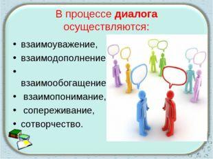 В процессе диалога осуществляются: взаимоуважение, взаимодополнение, взаимооб