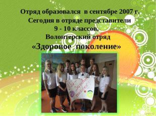Отряд образовался в сентябре 2007 г. Сегодня в отряде представители 9 - 10 к