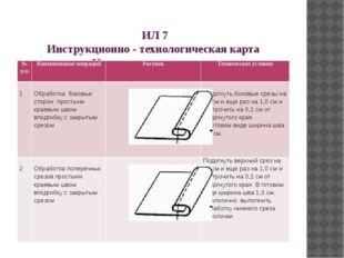 ИЛ 7 Инструкционно - технологическая карта «Изготовление простыни» №п/п Наим