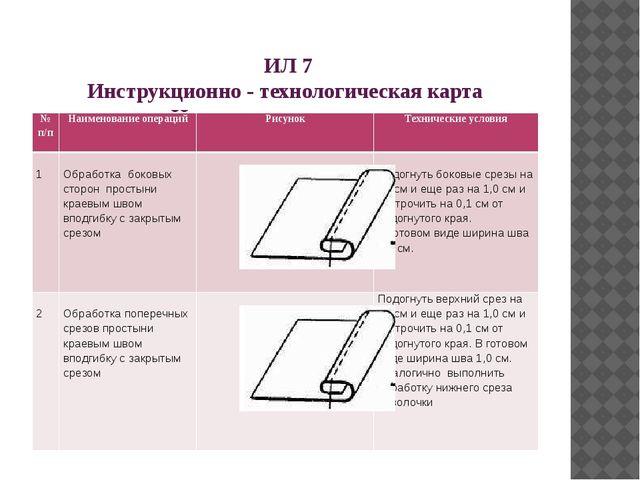 ИЛ 7 Инструкционно - технологическая карта «Изготовление простыни» №п/п Наим...