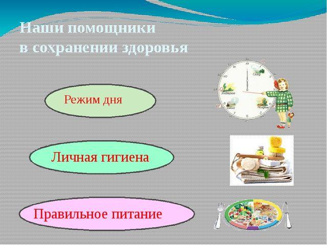 Наши помощники в сохранении здоровья Правильное питание Личная гигиена Режим...