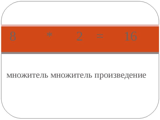 множитель множитель произведение 8 * 2 = 16