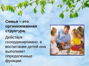 Семья – это организованная структура. Действуя скоординировано, в воспитании
