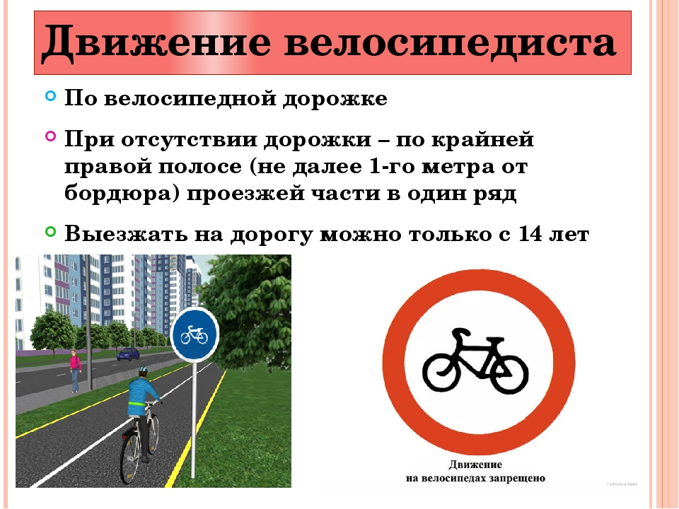 Движение велосипедиста По велосипедной дорожке При отсутствии дорожки – по кр...