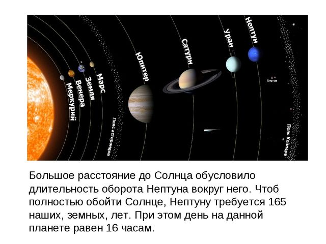 Большое расстояние до Солнца обусловило длительность оборота Нептуна вокруг...