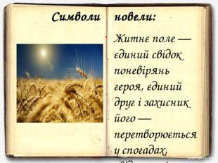 Символи новели: Житнє поле — єдиний свідок поневірянь героя, єдиний друг і за