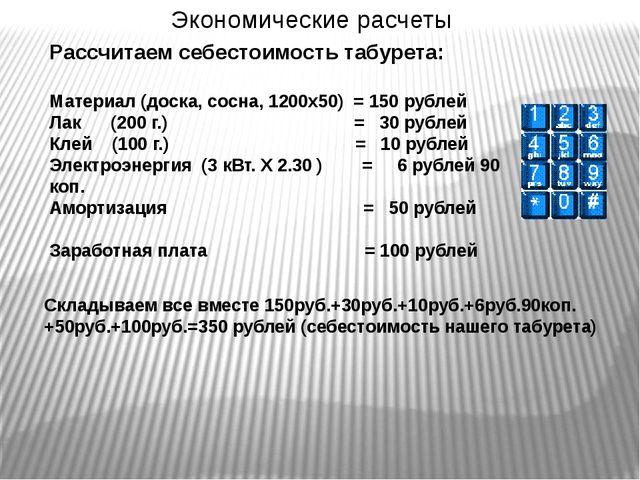Экономические расчеты Рассчитаем себестоимость табурета: Материал (доска, сос...