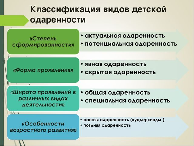 Классификация видов детской одаренности